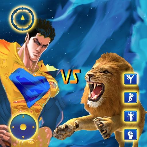 Superhero vs Wild Animal Fight