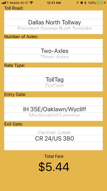 DFW Quick Toll Calculator
