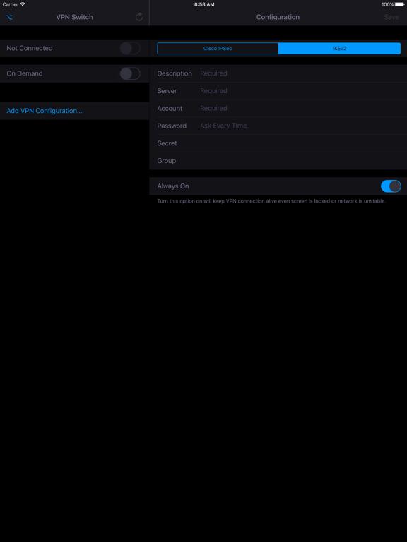 VPN Switch Screenshots