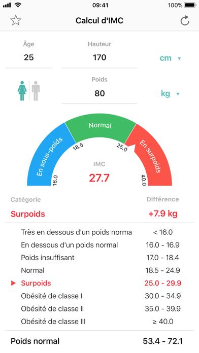 Calcul d'IMC Contrôle du poids