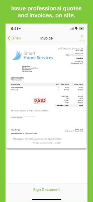 ServiceM On The App Store - Apple app invoice