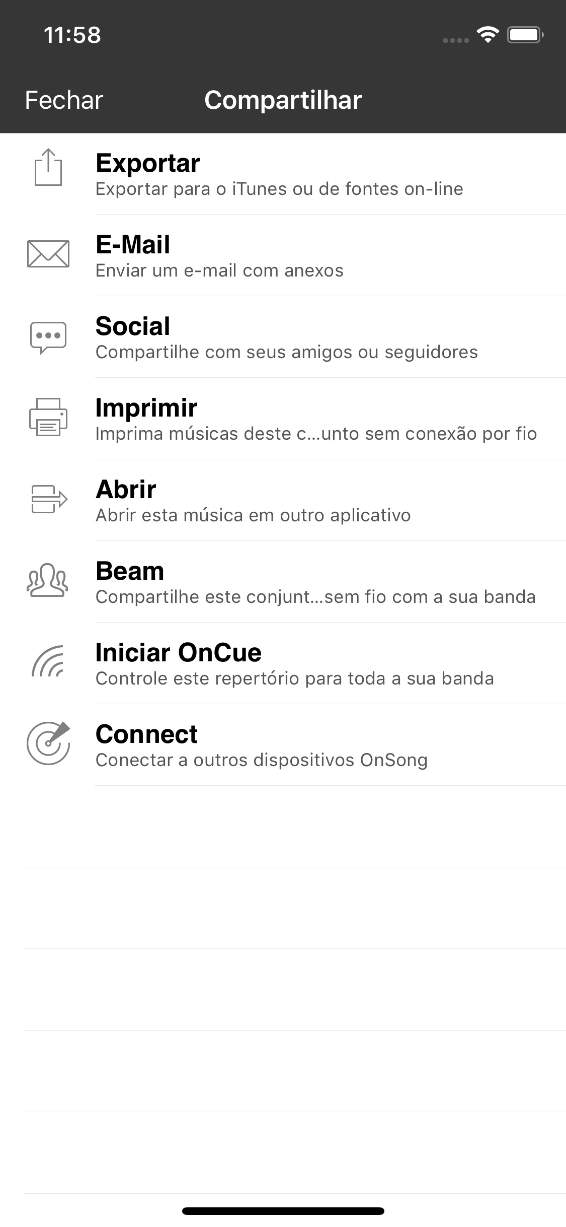 Screenshot do app OnSong