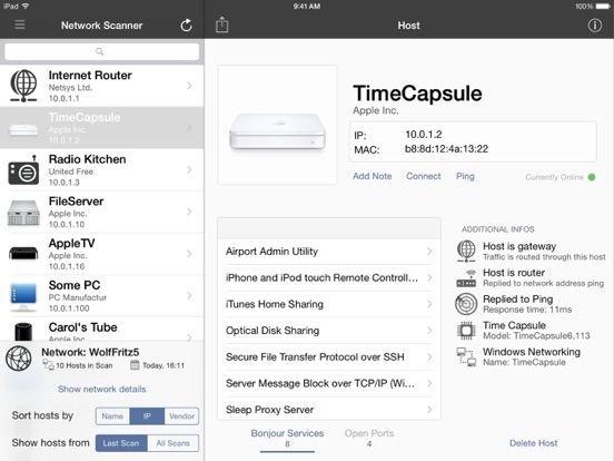 iNet for iPad Network Scanner Screenshots