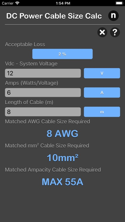 DC Power Cable Size Calc