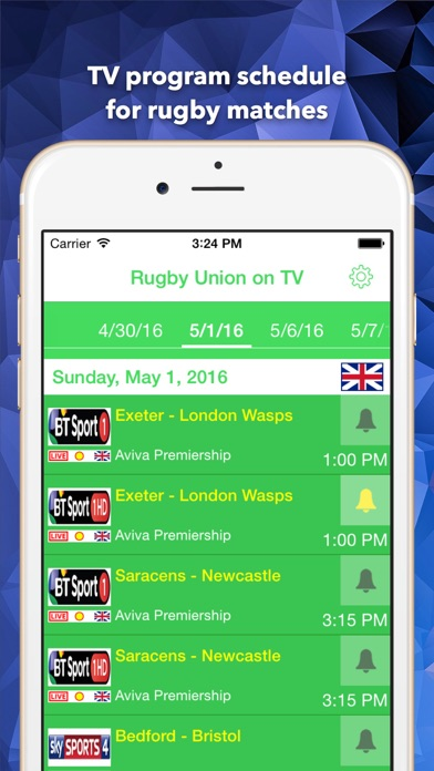 Rugby Union on UK TV: schedule of all Rugby U matches on