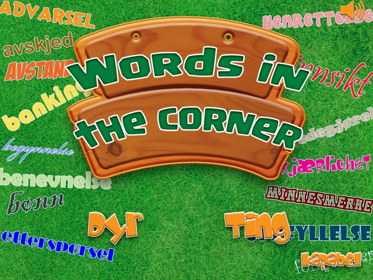 Words in the corner - Play and Learn to read Norwegian game for school kids