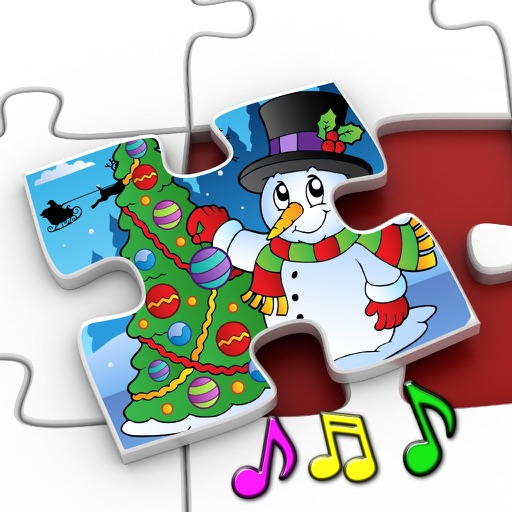 Kids Christmas Jigsaw Puzzle Shapes - educational game for preschool children 3+