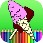 ice cream coloring book for kids icon