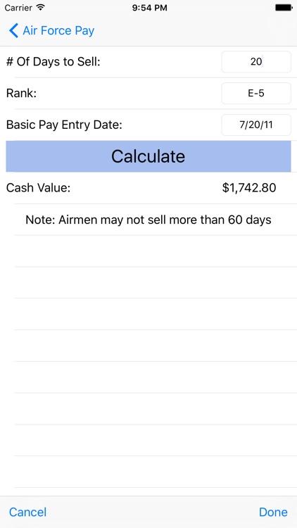 Air Force Pay Calculators screenshot-4
