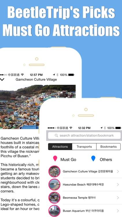 Busan travel guide with offline map and Busan Seoul BTC metro underground transit by BeetleTrip screenshot-4