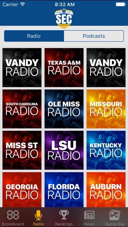 SEC Football Schedules, Scores & Radio
