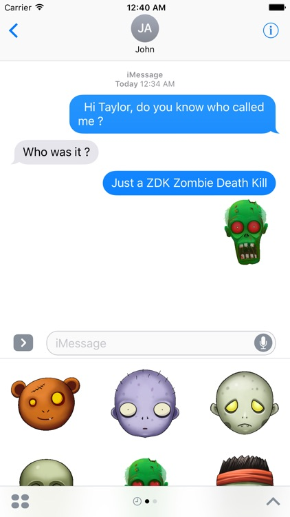 ZDK Zombie Death Kill Stickers Pack for iMessage