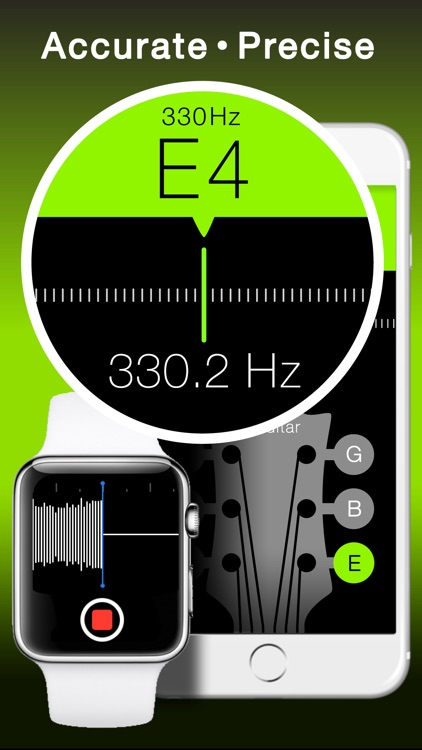 Free Guitar and String Instruments Chromatic Tuner with Tone Generator - Apple Watch Edition