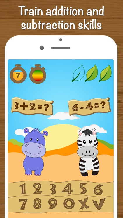 Safari Math Free - Addition and Subtraction game for kids screenshot-1