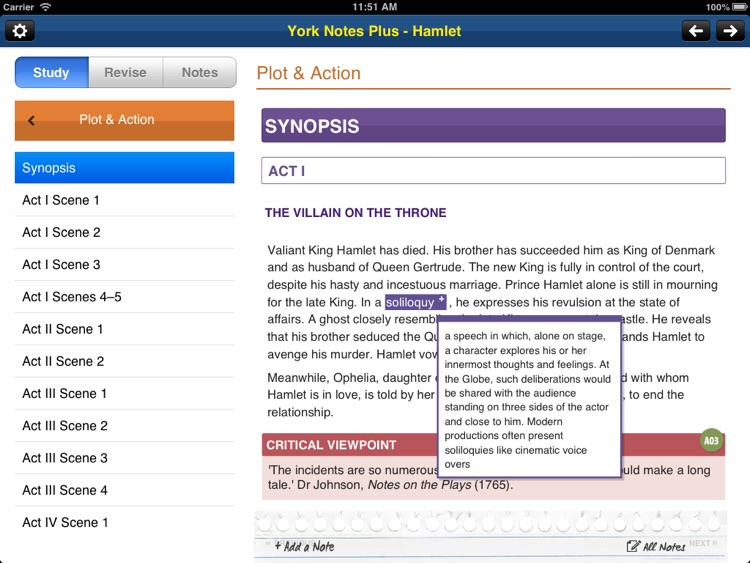 Hamlet York Notes AS and A2 for iPad