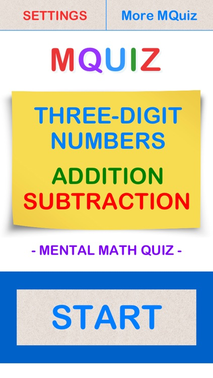 MQuiz Three-Digit Numbers Addition and Subtraction - Mental Math Quiz