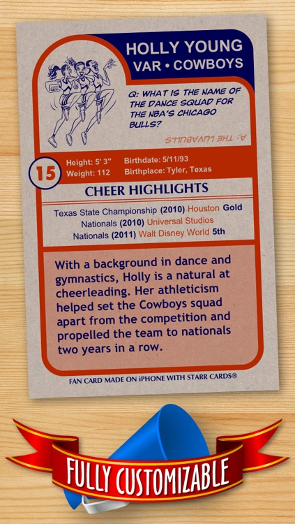 Cheerleader Card Maker - Make Your Own Custom Cheerleader Cards with Starr Cards