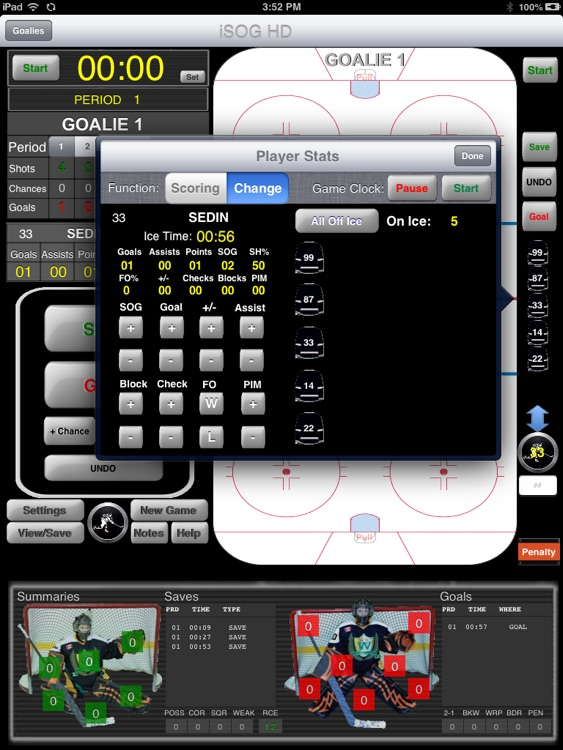 iSOG HD Lite Goalie & Player Stats Utility screenshot-3