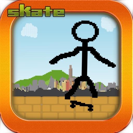 Tiny Stick-Man Skate-Boarding Awsome Pixel Game - Skate-Board for Free