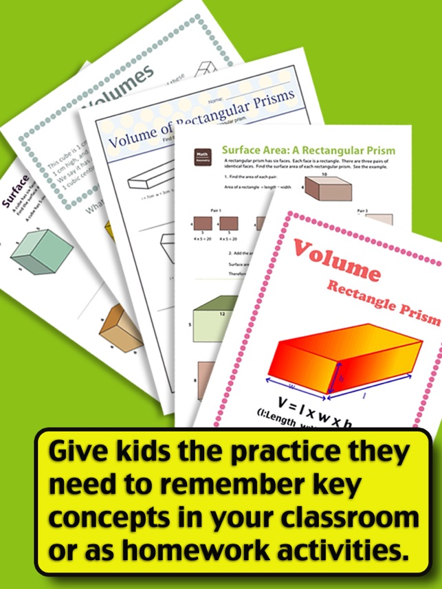 Kids Math-Volume&Surface Area Worksheets(Grade 6) on the App Store