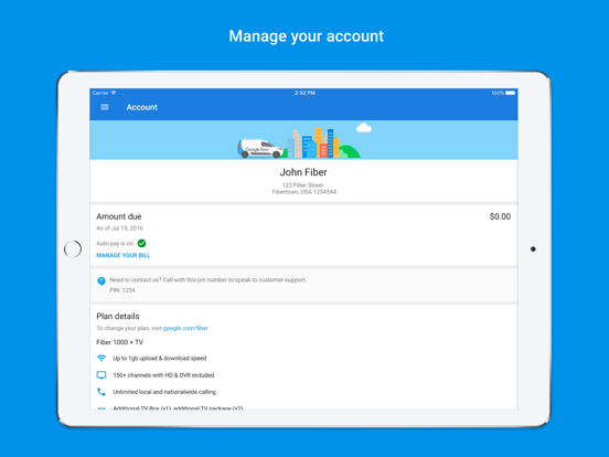 Google Fiber - network and account manager-ipad-0
