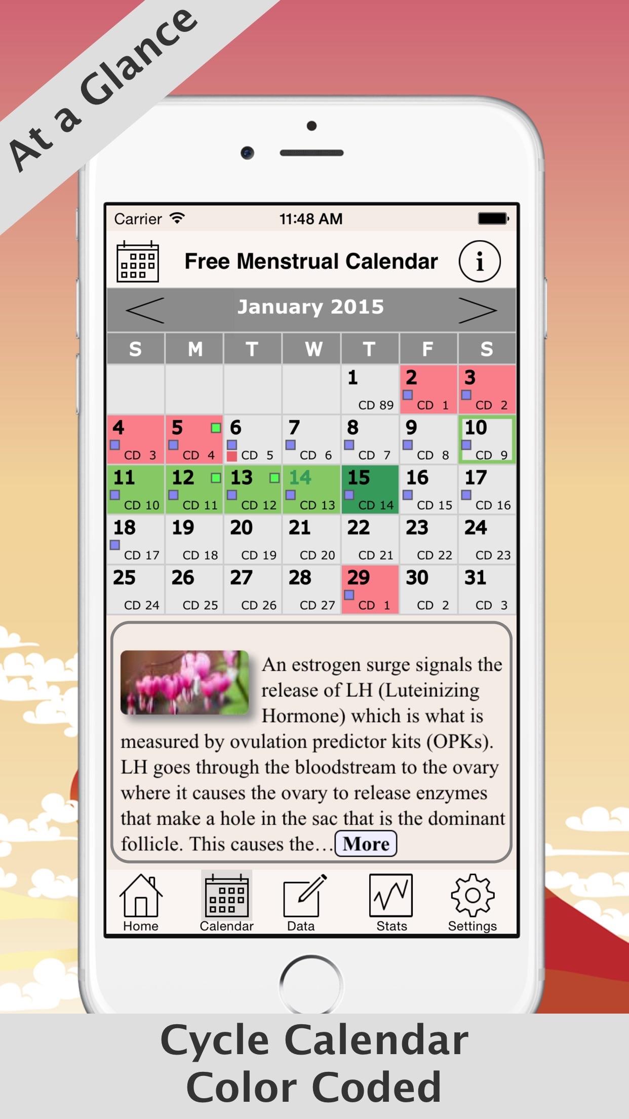 Free Menstrual Calendar For Periods and Ovulations Screenshot