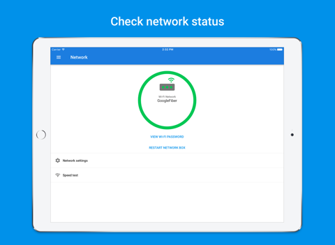 Screenshot of Google Fiber - network and account manager