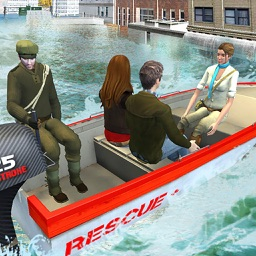 Boat Rescue Mission in Flood : Coast Emergency Rescue & Life Saving Simulation Game