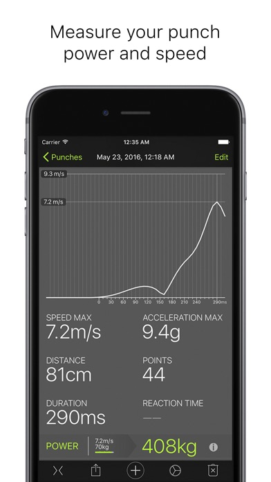 Screenshot for Punches - measuring power and speed in Jordan App Store