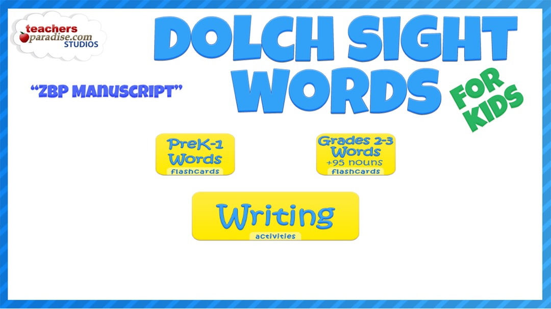 Dolch Sight Words Kids Flashcards & School Letter Writer ZBP