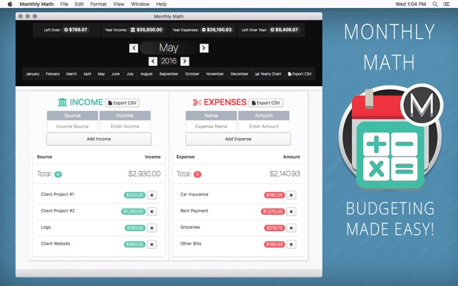 monthly math the simple monthly budget calculator on the mac app store