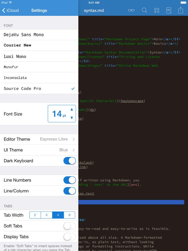 Textastic Code Editor 6 Screenshot