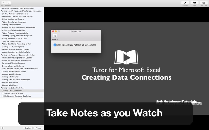 Tutor for Microsoft Excel Screenshot