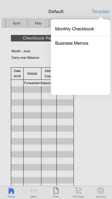 Monthly Check Register Screenshots