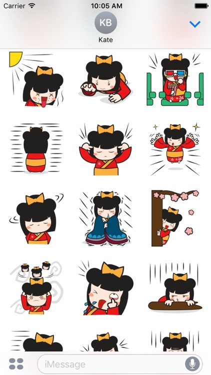 Kimi kawaii japanese doll for iMessage Sticker