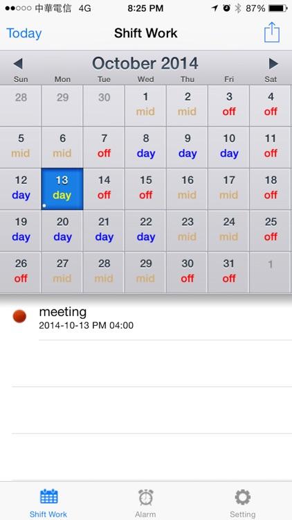 Shift worker's calendar Lite
