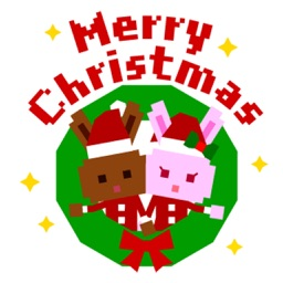 Pixel Bunny Christmas And New Year Stickers