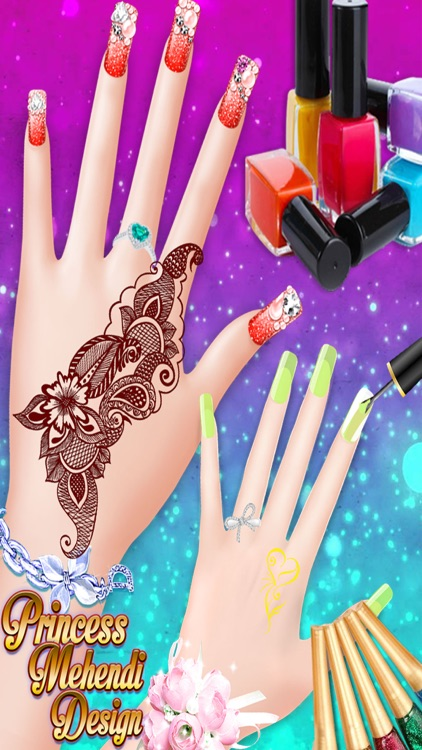 Princess Mehndi Designs: Nail art salon girls game screenshot-3
