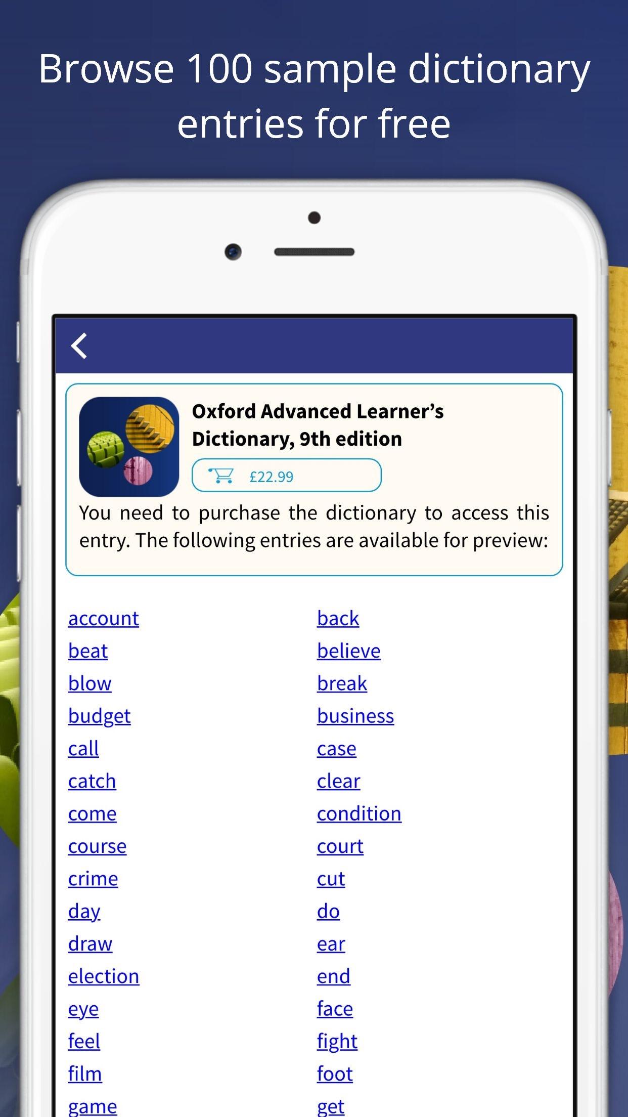 Oxford Advanced Learner's Dictionary Screenshot
