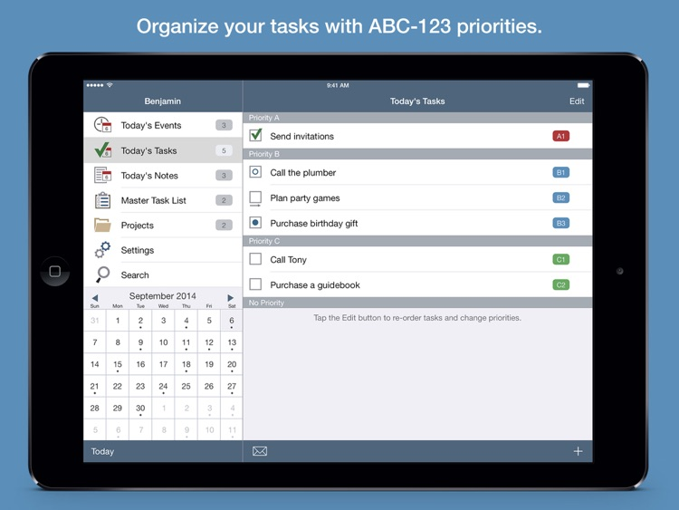 Benjamin – Task Manager and Calendar Inspired by Benjamin Franklin for iPad