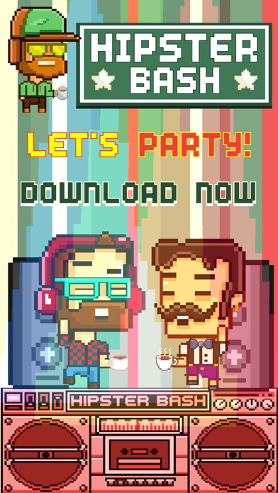 Hipster Bash FREE GAME - Funny Quick 8-bit Retro Pixel Art Games