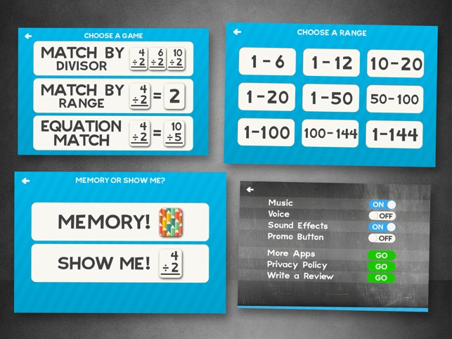 Division Flashcard Match Games for Kids in 2nd, 3rd and 4th Grade Screenshot