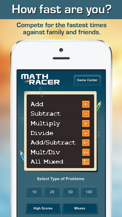 Math Racer 3.0 - Addition, Subtraction, Multiplication and Division Tables Speed Game screenshot-0