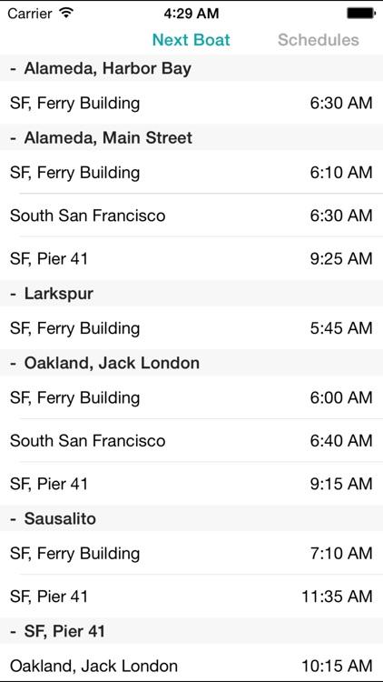 SF Bay Ferry Times