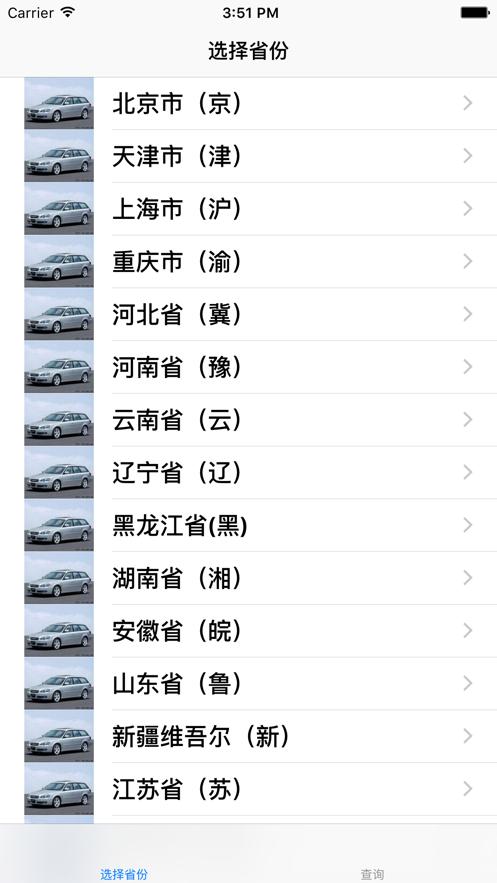 车牌号查询 App 截图