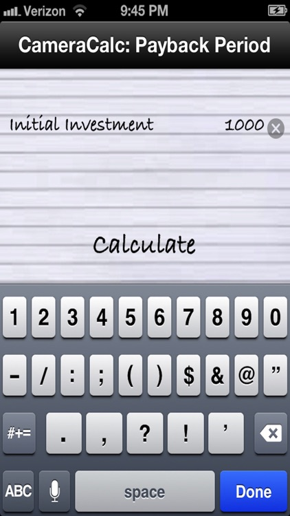 Payback Period Financial Calculator