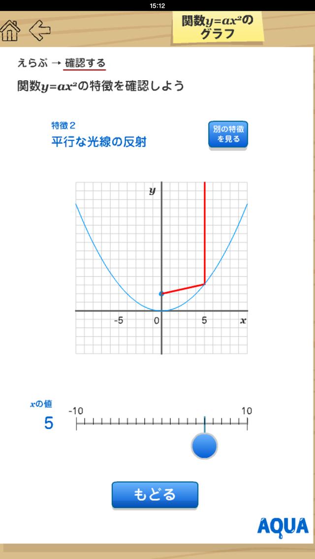 関数y=ax2のグラフ さわってうごく数学「AQUAアクア」のおすすめ画像5