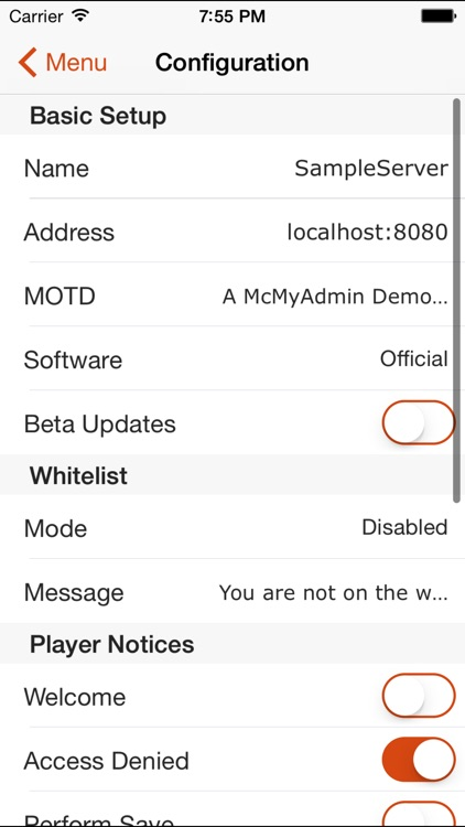 McMyAdmin Mobile for Minecraft Server Admins