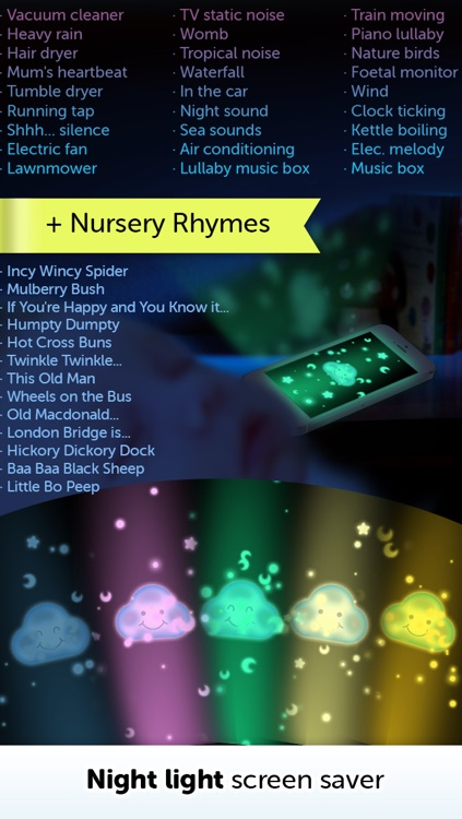 Baby White Noise generator + Nursery Rhymes music screenshot-3