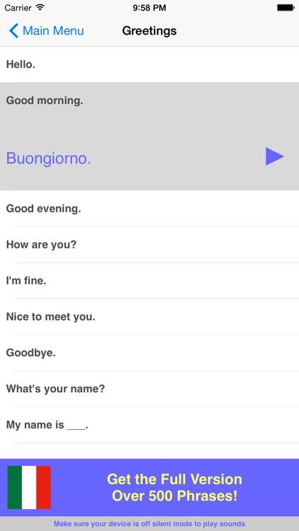 Speak Italian Travel Phrasebook Lite screenshot-4